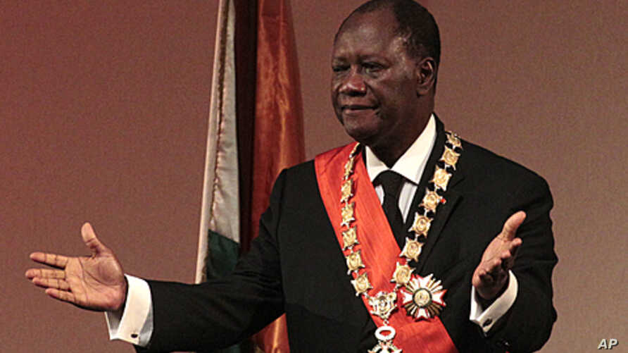 Alassane Ouattara is sworn in  for a third term as President of Ivory Coast